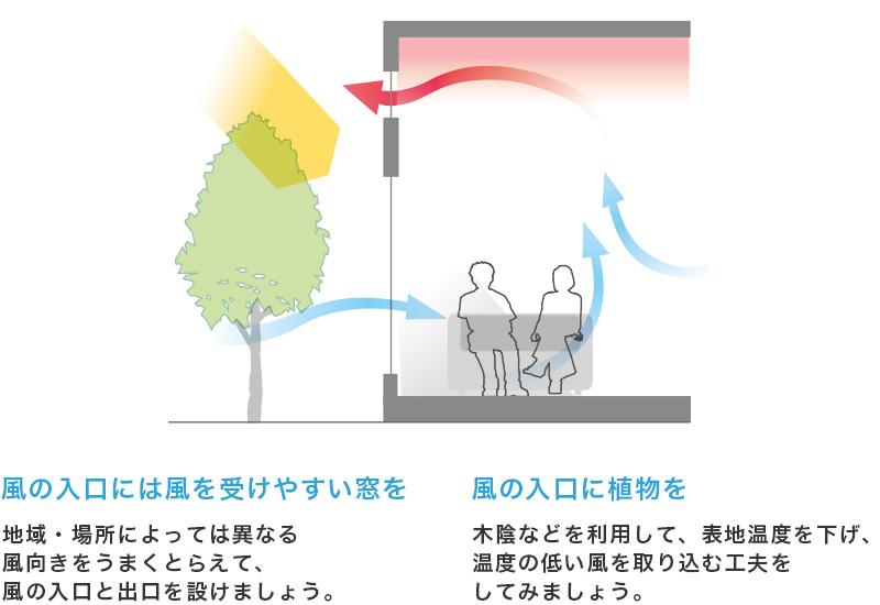 風の入口には風を受けやすい窓を 地域・場所によっては異なる風向きをうまくとらえて、風の入口と出口を設けましょう。 風の入り口に植物を 木陰などを利用して、表地温度を下げ、温度の低い風を取り組む工夫をしてみましょう。